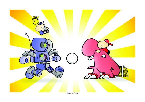 red dino vs blue robot
