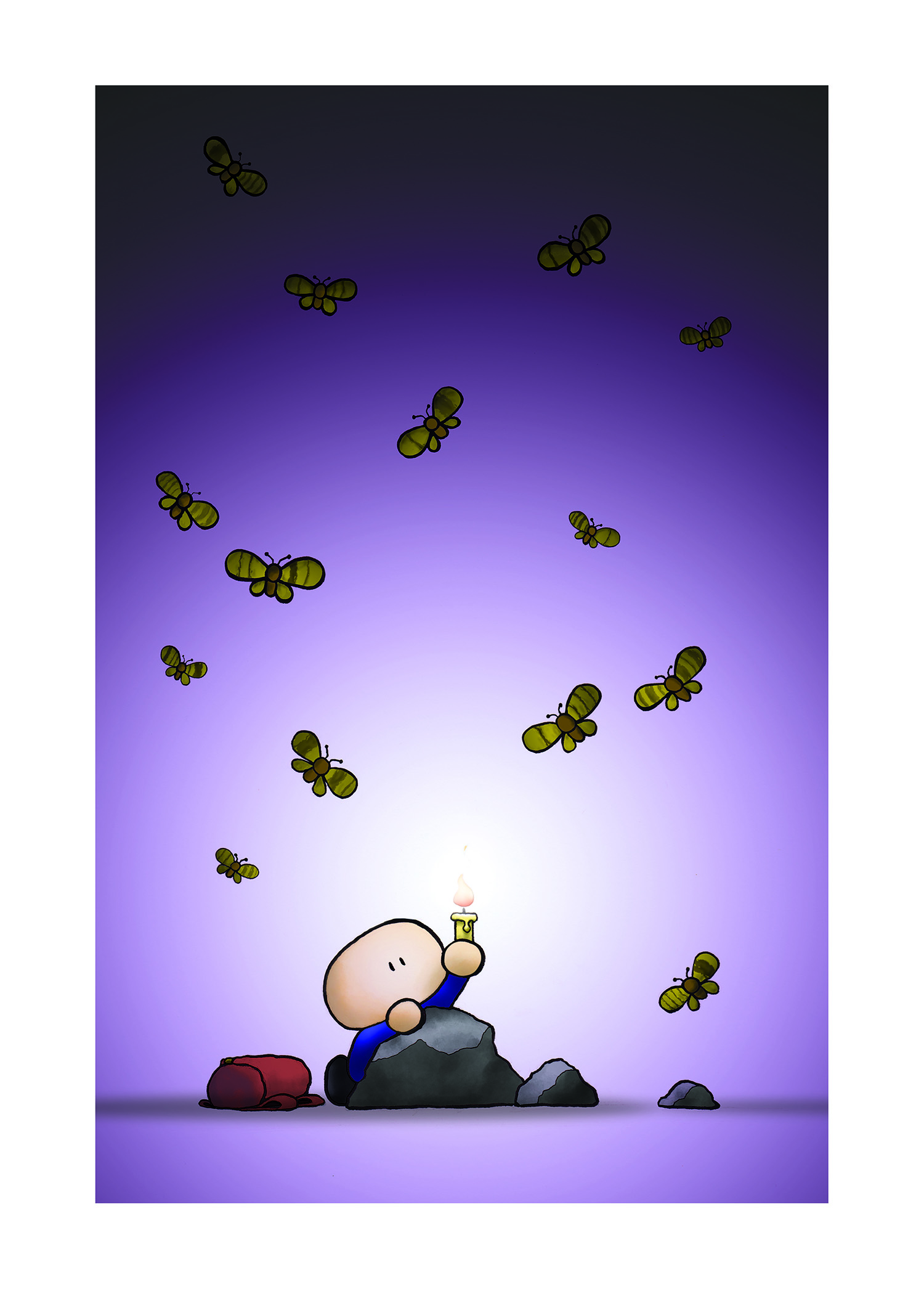 a boy lost in a cave is surrounded by flying moths that spell out THERE IS YET HOPE IN DARKEST NIGHT