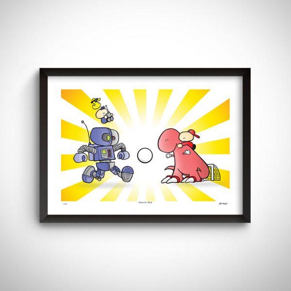 dinosaur plays football against a robot