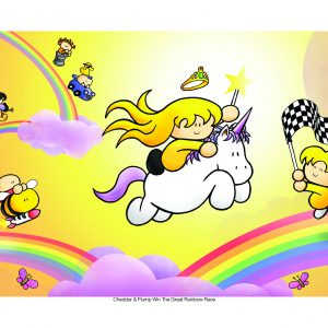 a blonde girl rides a unicorn past a chequered flag on a rainbow
