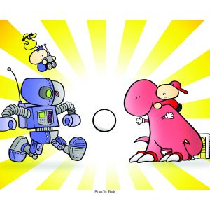 red dino vs blue robot