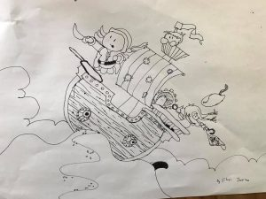 a child's drawing of a pirate ship